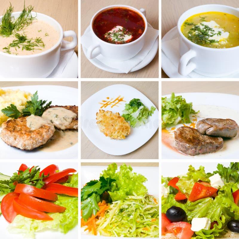 Sopa, carne, salada e o outro alimento imagem de stock royalty free