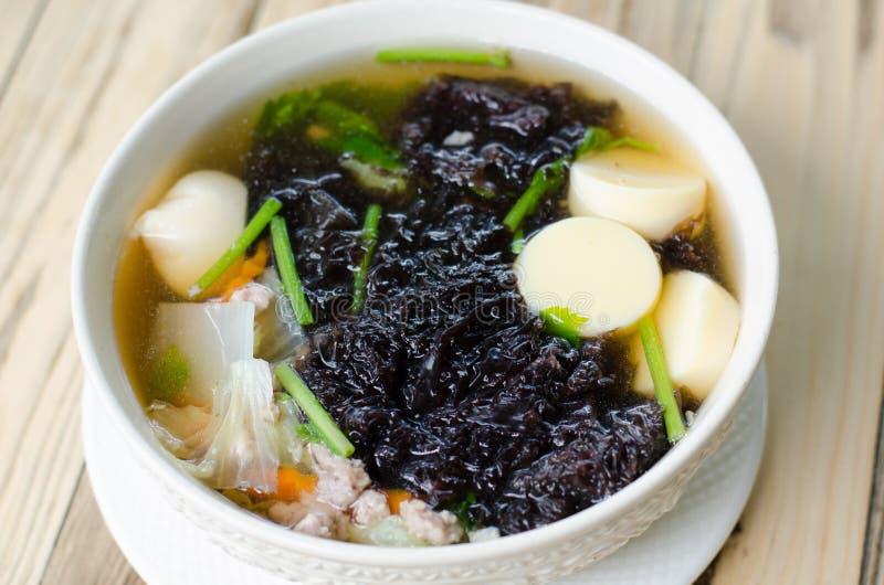 Sopa clara com alga e carne de porco triturada imagem de stock royalty free
