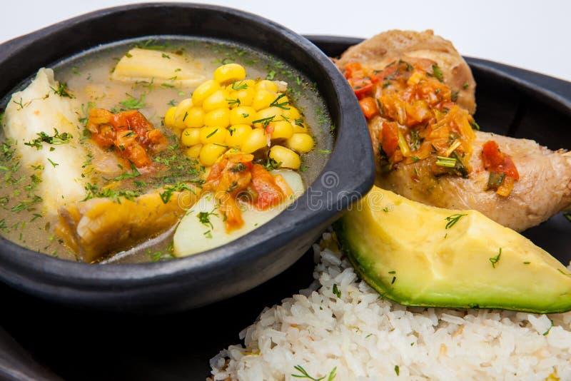 Sopa colombiana tradicional da região de Valle del Cauca Ca imagens de stock