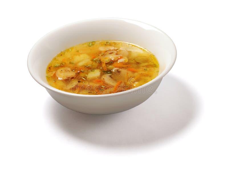 Sopa com as batatas e os cogumelos flavored fotografia de stock royalty free