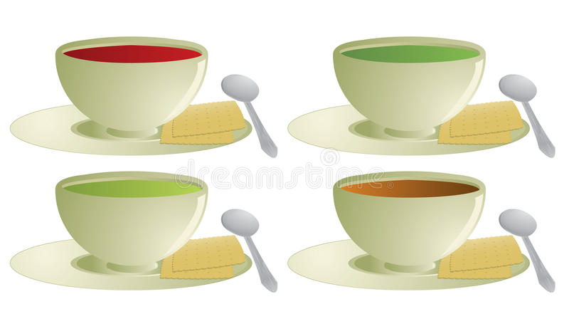 Sopa com biscoitos ilustração stock