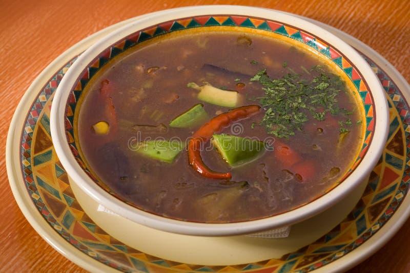Sopa com carne, abacate e repolho fotos de stock royalty free