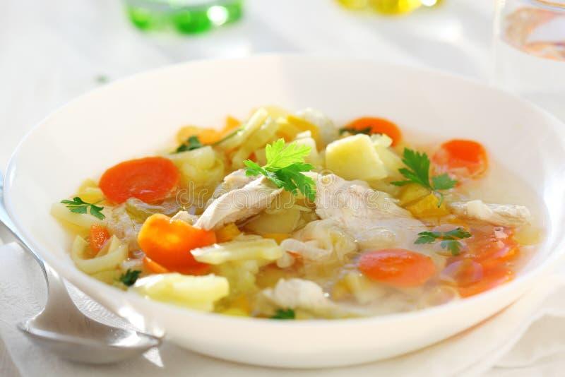 Sopa com galinha e vegetal imagens de stock royalty free
