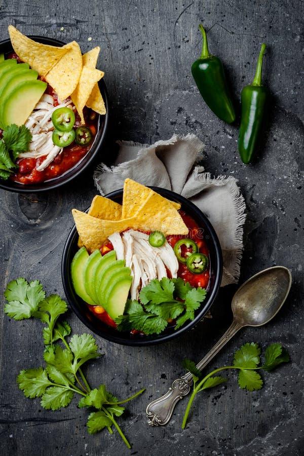 Sopa com nachos, abacate do piment?o da tortilha da galinha, cal, jalapeno Prato tradicional mexicano imagem de stock
