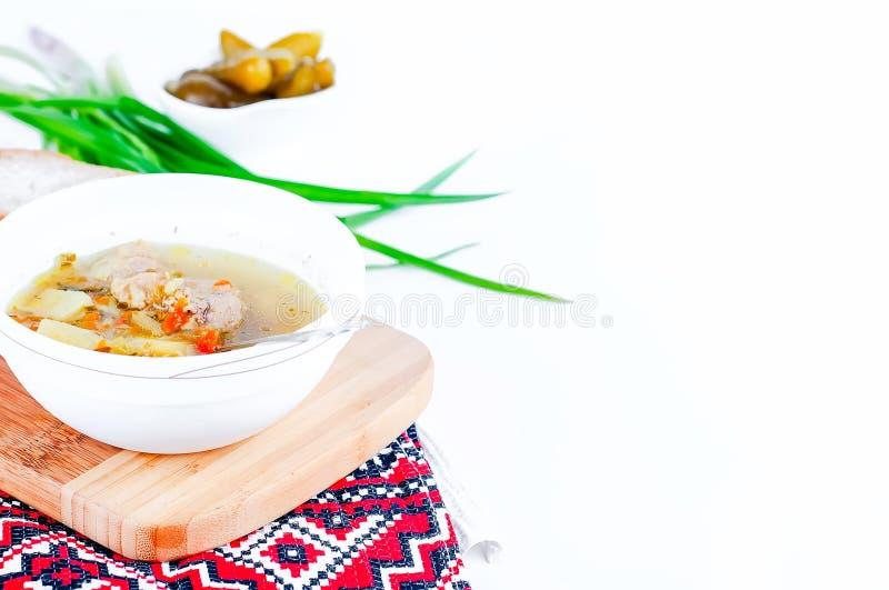 Sopa com pepinos conservados foto de stock royalty free