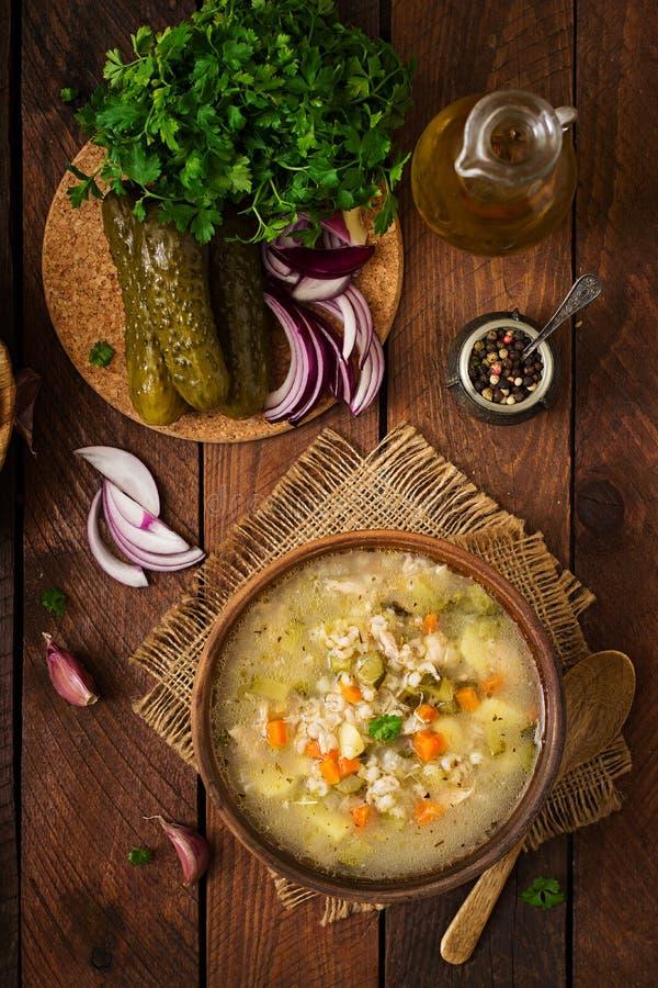 Sopa com pepinos e cevada de pérola conservados - rassolnik fotografia de stock