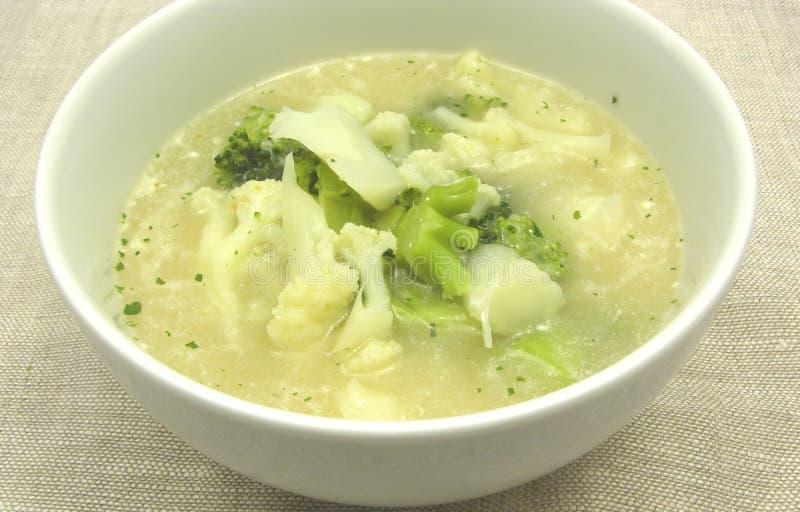 Sopa con la coliflor y el bróculi fotografía de archivo
