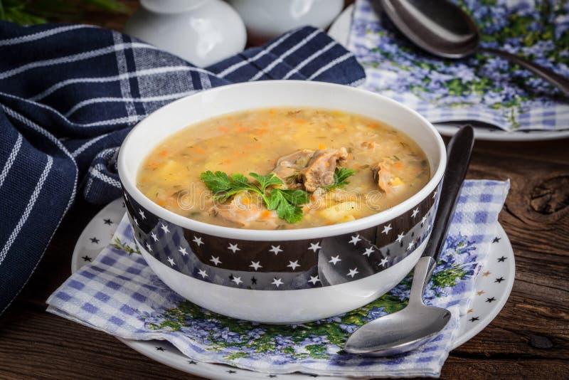 Sopa con las mollejas de la cebada y del pollo fotos de archivo libres de regalías