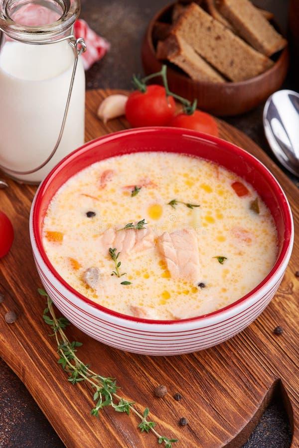 Sopa con los pescados, la crema, la patata y el tomate de color salmón fotos de archivo libres de regalías