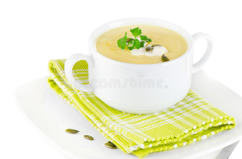 Sopa cremosa da abóbora fotografia de stock royalty free