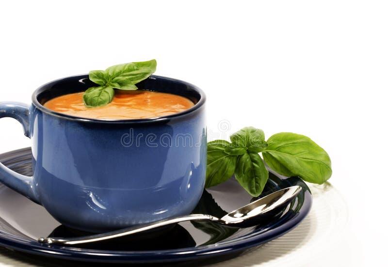 Manjericão da sopa do tomate imagem de stock