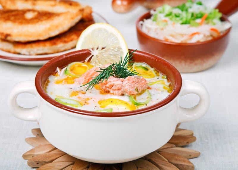 Sopa cremosa dos peixes imagem de stock