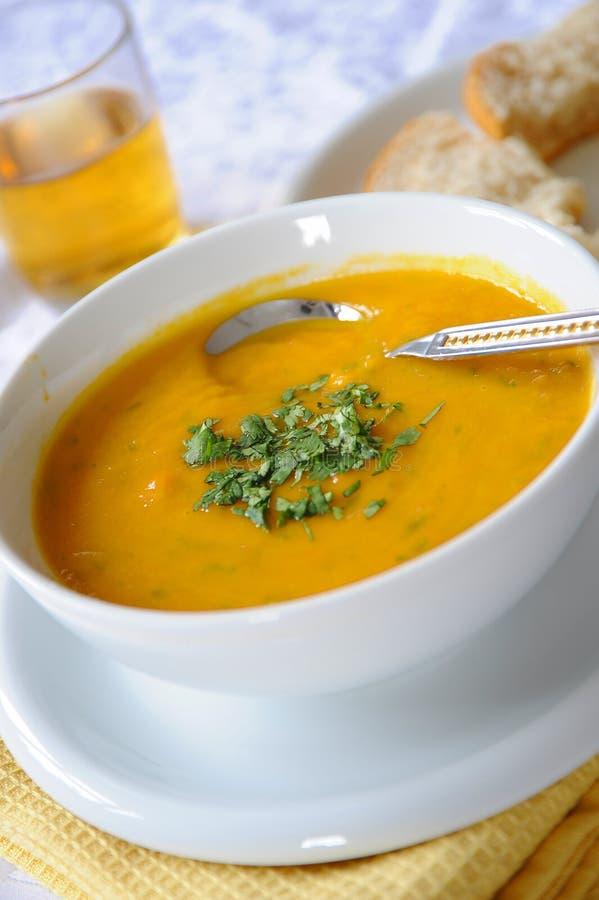 Sopa da cenoura & de lentilha imagem de stock royalty free