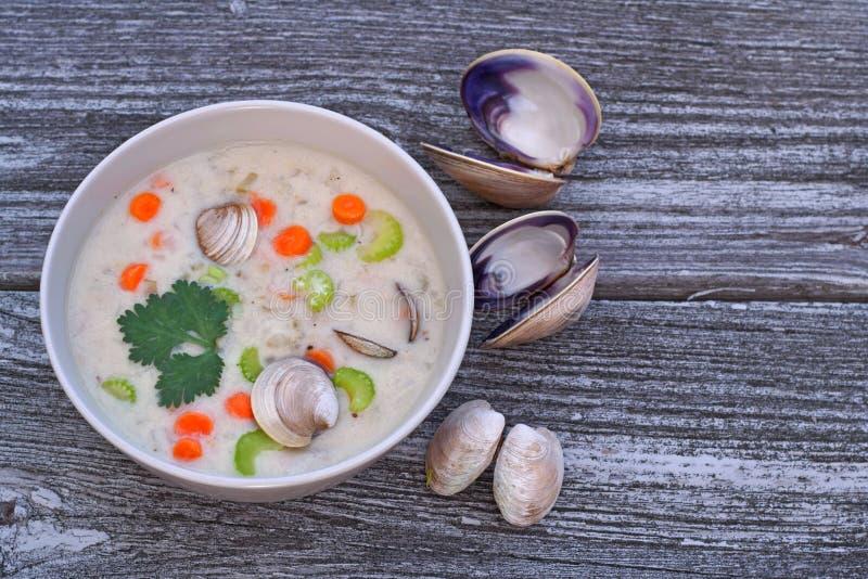 Sopa da clam chowder fotografia de stock