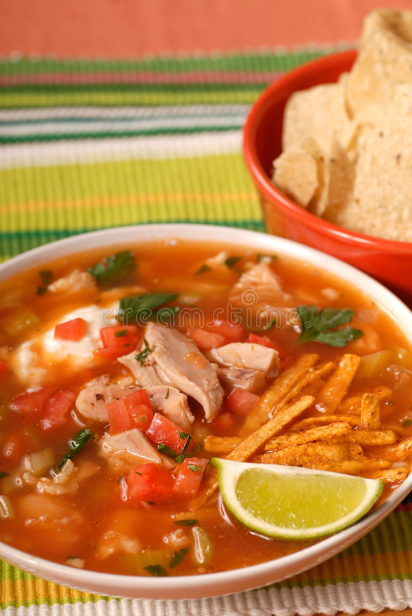 Sopa da galinha e do tortilla foto de stock royalty free