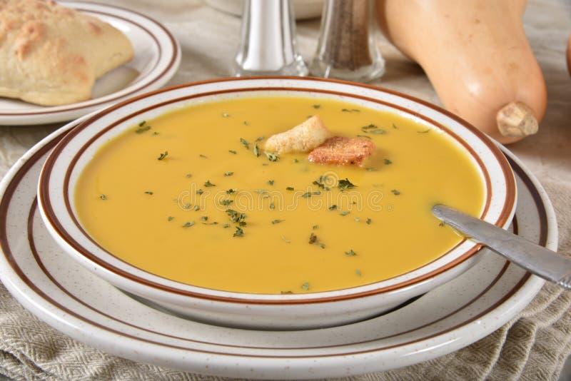 Sopa da polpa de Butternut fotografia de stock