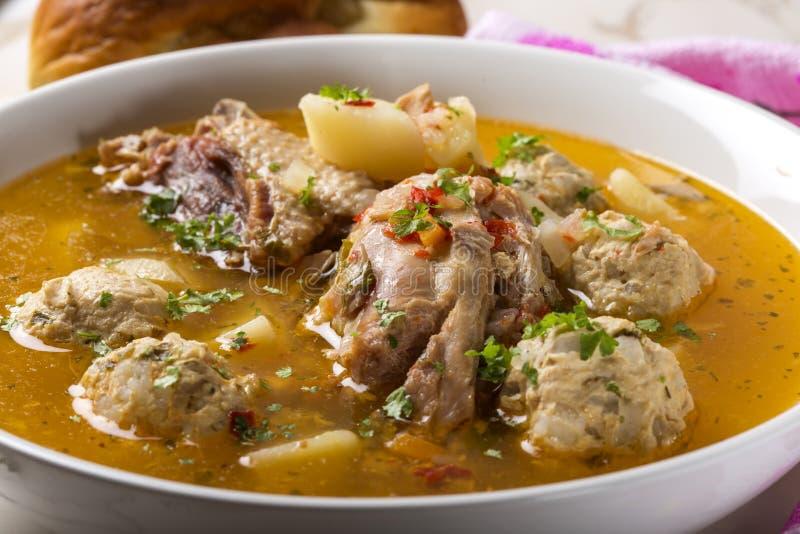 Sopa das almôndegas com carne e ervas da galinha na bacia fotografia de stock royalty free