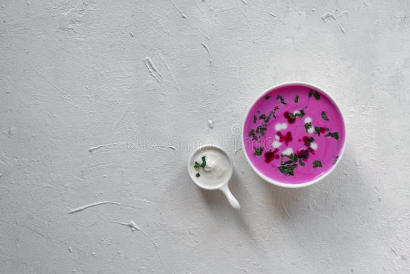 Sopa de beterrabas Sopa de beterrabas da desintoxicação da mola Conceito do alimento saudável comer ou de vegetariano Opinião do  imagem de stock