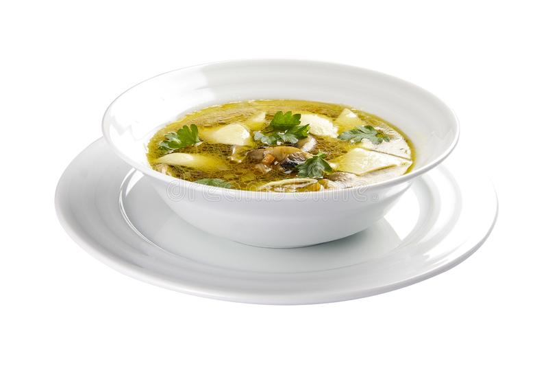 Sopa de champiñones con las bolas de masa hervida Un plato lituano tradicional imagen de archivo libre de regalías