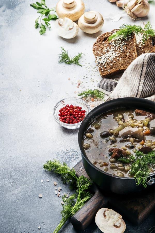 Sopa de champiñones gruesa caliente con la carne de vaca, las especias y la cebada integral, caldo de la carne Con pan negro, en  imágenes de archivo libres de regalías