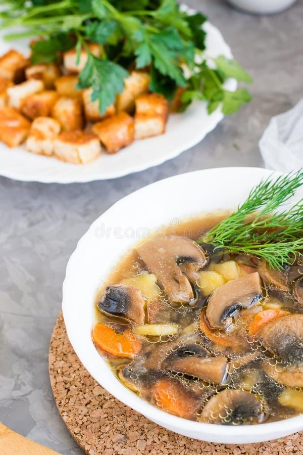 Sopa de champiñones hecha en casa con los champiñones y las hierbas frescas imagen de archivo