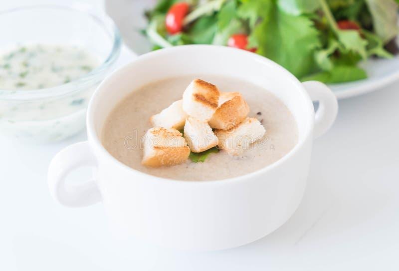Sopa de champiñones y pan en la taza de cerámica blanca fotografía de archivo libre de regalías