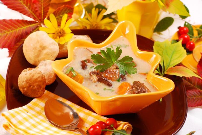 Sopa de cogumelo do outono com creme imagens de stock royalty free