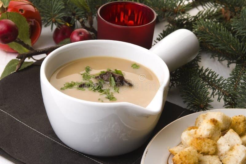 Sopa de cogumelo polonesa tradicional com creme fotografia de stock