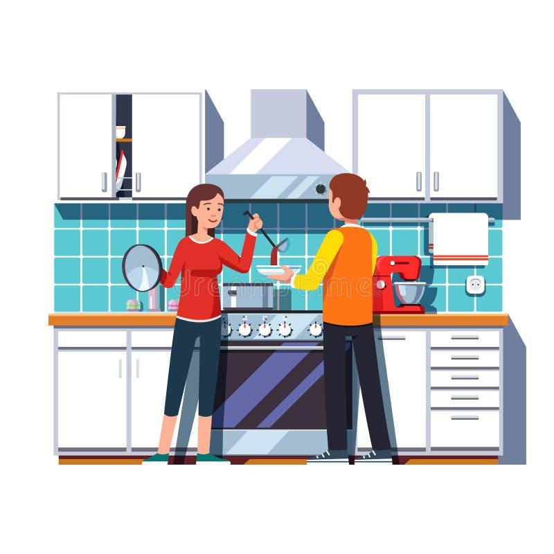 Sopa de colada de la mujer con la cucharón en un cuenco para el hombre ilustración del vector