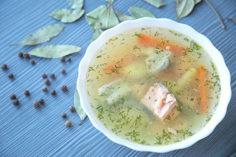 Sopa de color salmón con las patatas, zanahorias, eneldo fotos de archivo