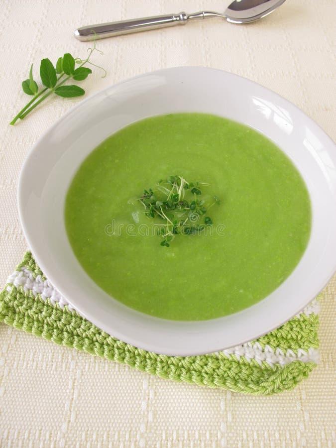 Sopa de ervilha com brotos do chia foto de stock