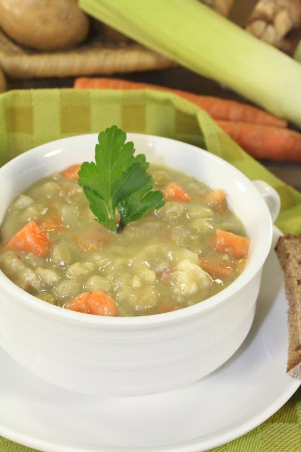 Sopa de ervilha entusiasta deliciosa com salsa fotos de stock royalty free