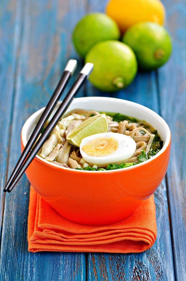Sopa de fideos del pollo con pimienta de la cebolla verde, del jengibre, del coriandro y de chile Cocina asiática foto de archivo