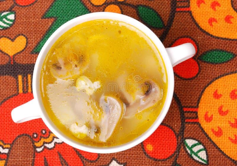 Sopa de galinha com cogumelos foto de stock royalty free