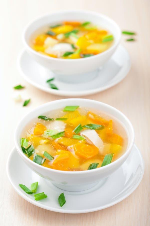 Sopa de galinha com vegetais fotos de stock royalty free
