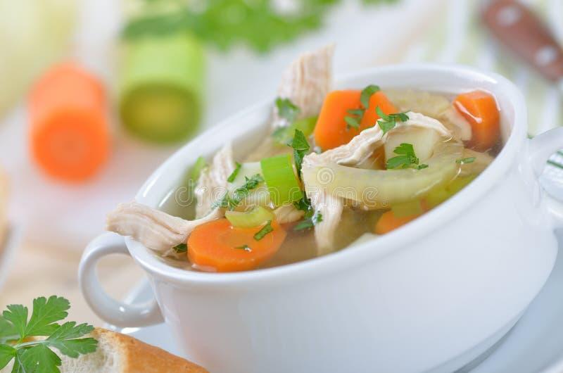 Sopa de galinha fresca fotos de stock royalty free