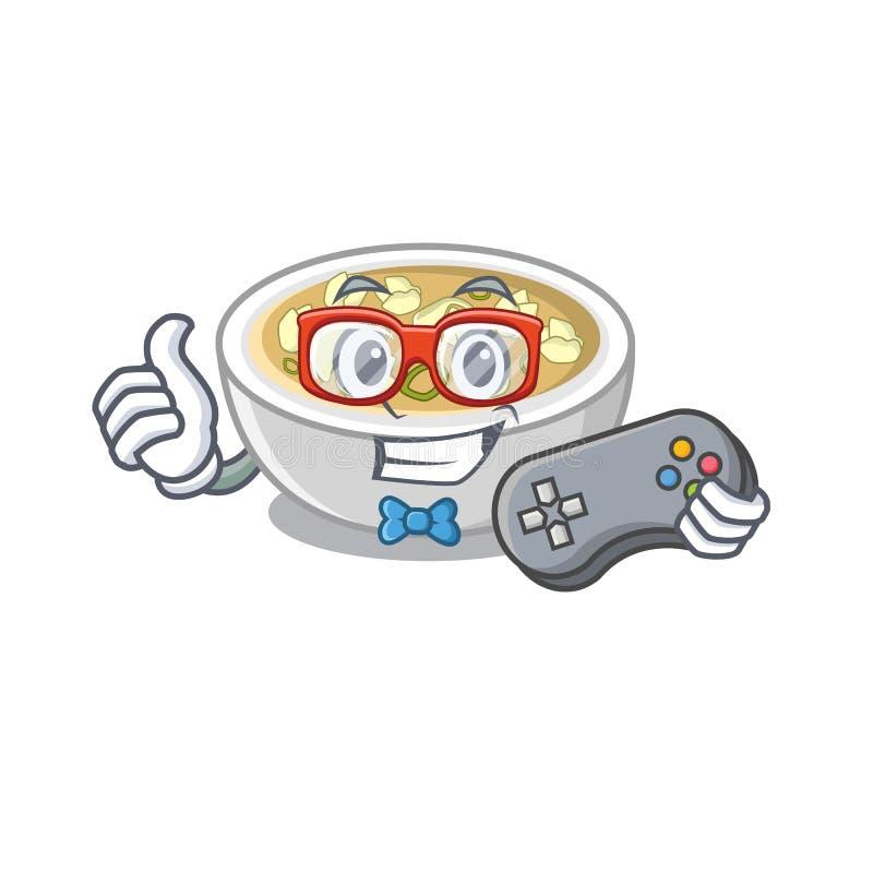 Sopa de gamer numa tigela de desenho ilustração royalty free