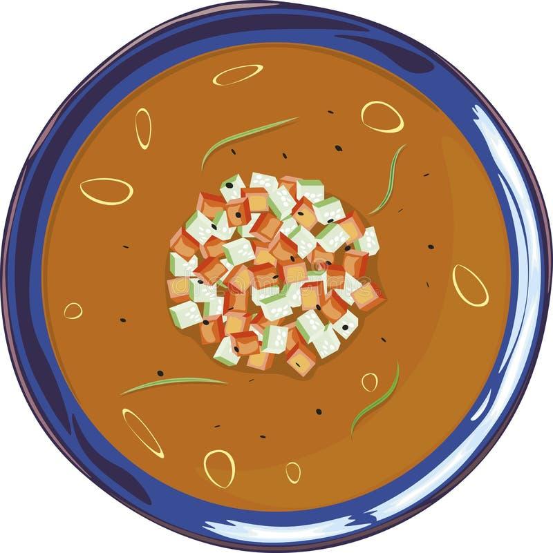 Sopa de Gazpacho en una placa azul imagenes de archivo