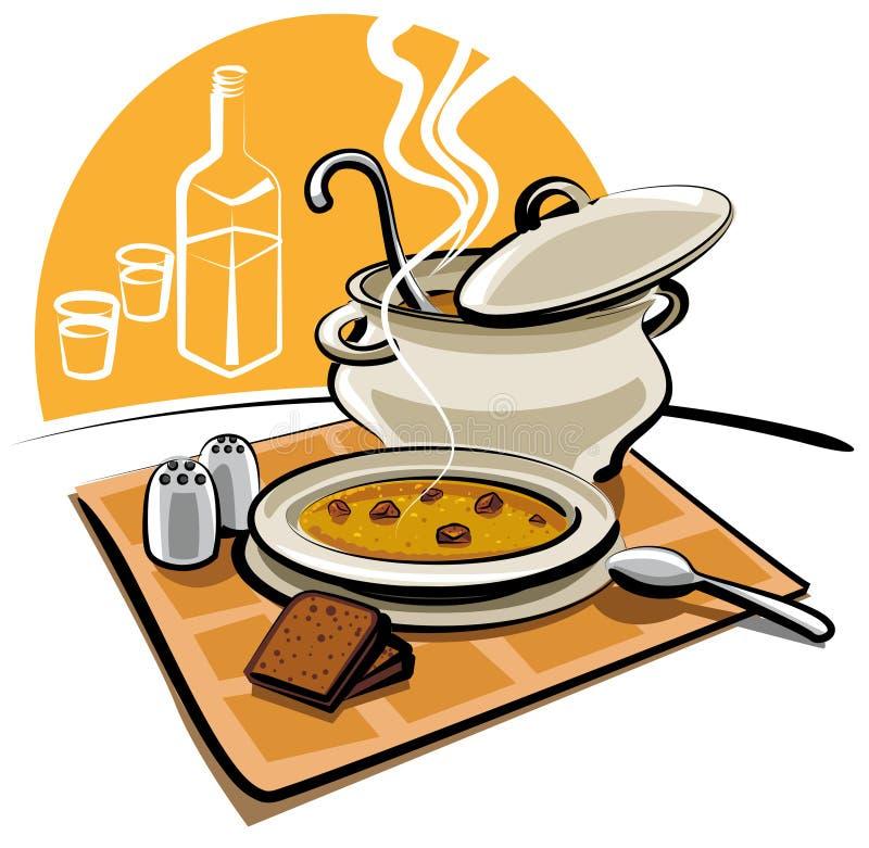 Sopa de guisante caliente ilustración del vector