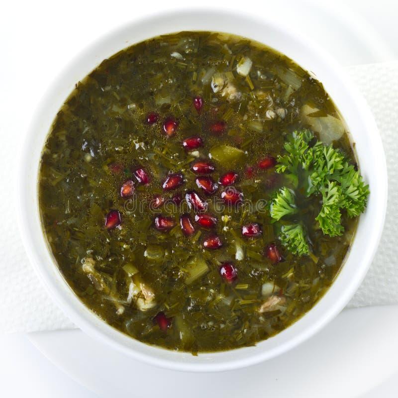 Sopa de guisantes verde fresca fotos de archivo