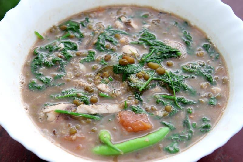 Sopa de habas verdes del Mongo con la verdura frondosa del bittergourd imagen de archivo libre de regalías