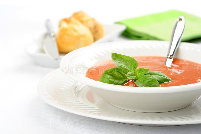 Sopa de la albahaca del tomate foto de archivo