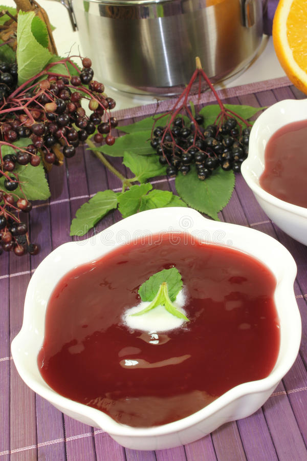 Sopa de la baya del saúco imagen de archivo