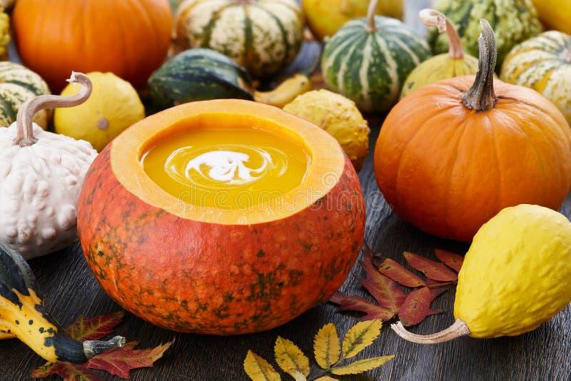 Sopa de la calabaza con las semillas en calabaza decorativa grande fotos de archivo