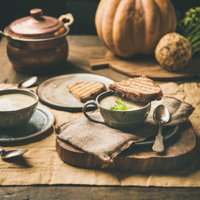 Sopa de la crema del apio, tostada, calabaza fresca en el fondo, cosecha cuadrada foto de archivo