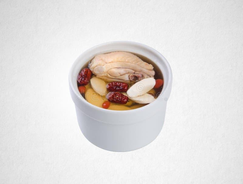 sopa de la hierba o sopa china de la hierba en un fondo fotografía de archivo libre de regalías