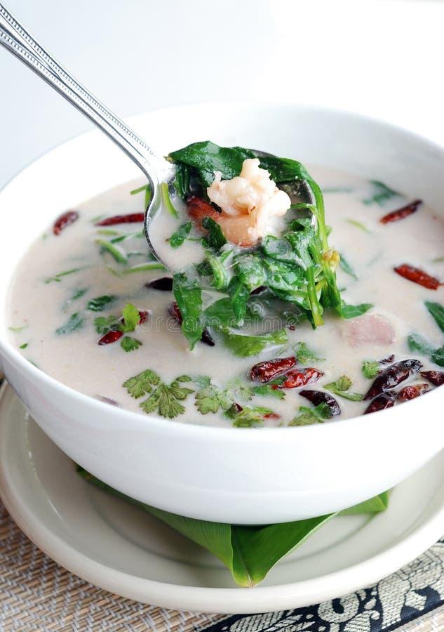 Sopa de la leche de coco del camarón foto de archivo
