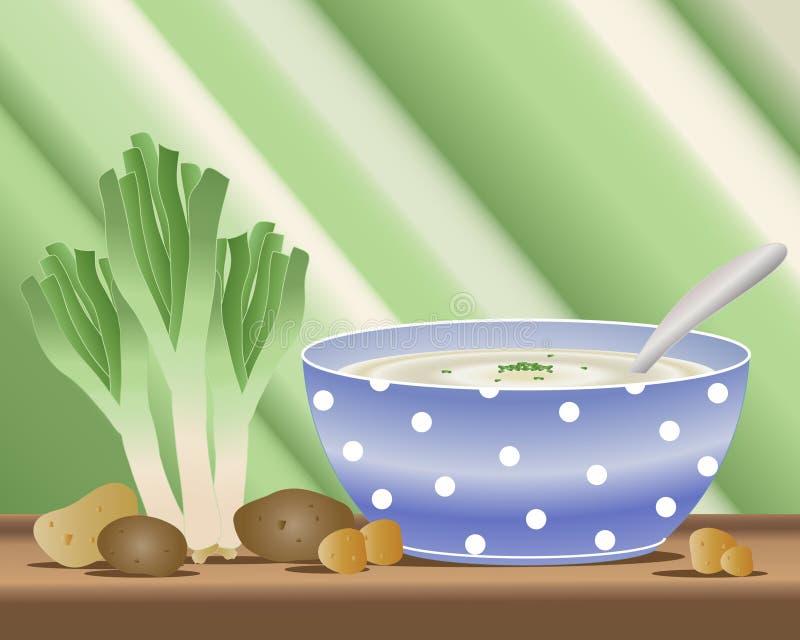 Sopa de la patata y del puerro libre illustration