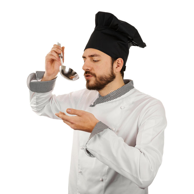 Sopa de la prueba del cocinero de la cucharón Aislado en blanco imagen de archivo libre de regalías