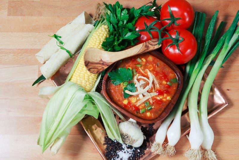 Sopa de la tortilla del pollo con las verduras frescas fotografía de archivo libre de regalías